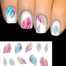5/10pcs Colorful Feather Nail Art Water Transfer Decal Sticker DIY Tips Decals