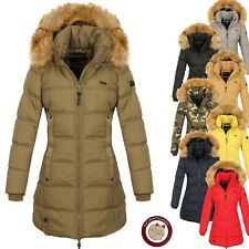 Navahoo Damen Winter Jacke Steppmantel warme Steppjacke Pelzkragen Quitscheente