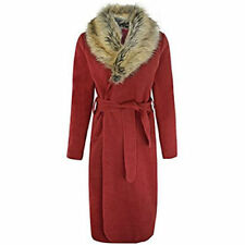 NEW WOMENS FUR COLLAR BELTED WATERFALL DRAPE LONG COAT CAPE TRENCH JACKET LADIES
