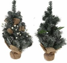 Christmas Trees With Snow Pine Needles and Hessian Ribbon 50cm tall