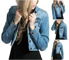 Womens Waist Lightweight Jean Bleach Sleeve Stretch Wash Jacket Long Denim