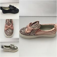 Bunny Girls Kids Infants Flats Low Heels Slip On Glitter Plimsolls Trainers Size