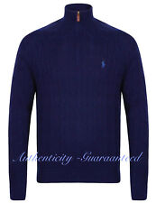 Ralph Lauren Polo Men's Half Zip Cable Knit Jumper Navy/Blue/Oatmeal RRP £125