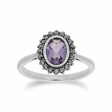 Gemondo Sterling Silver Amethyst & Marcasite Cluster Ring