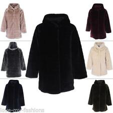 Womens Faux Fur Jacket Ladies Winter Parka Coat Quilted Hooded Casual Outwear