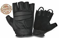FINGER LESS PADDED LEATHER CHAUFFEUR STYLE MOTORBIKE CAR BIKERS DRIVING GLOVES