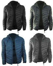 NEW Mens Quilted Padded Puffer Bubble Down Feel Hooded Gents Jacket Coat