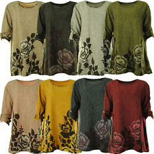 Women's Floral Turn Up Sleeve Stylish Soft Knit One Size Ladies Tunic Top Dress