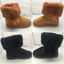 Womens Ladies Girls Ankle Flat Faux Fur Lined Boots Warm Winter SIZE 3-8 POM POM