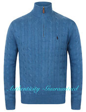 Ralph Lauren Polo Men's Half Zip Cable Knit Cotton Jumper Blue RRP £125 SALE!
