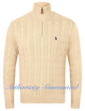Ralph Lauren Polo Men's Half Zip Cable Knit Cotton Jumper Oatmeal RRP £125 SALE!