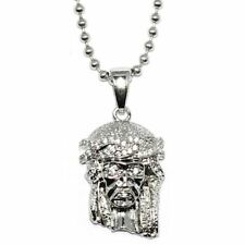 Micro Jesus Piece Pendant Silver Plated with 30 inch Ball chain Necklace