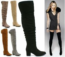 Shu Desire Ladies Faux Suede Over The Knee Thigh High Block Heel Platform Boots