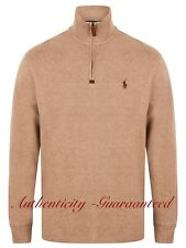 Ralph Lauren Polo Men's Half Zip Sueded Rib Cotton Jumper Brown S - XXL RRP £120