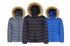 UK New Mens Warm Jacket Padded Winter Hooded Zip Coat Outwear Parka Trench