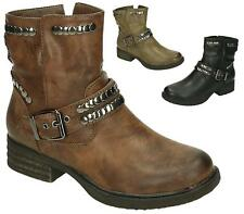 WOMENS ARMY MILITARY WORKER BUCKLE STRAP FLAT BIKER ZIP LADIES ANKLE BOOTS