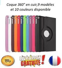 COQUE IPAD 2,3,4,AIR,MINI,PRO,12.9,CUIR, ROTATION 360°(FILM + STYLET OFFERT)