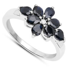 Sterling Silver Sapphire & Diamond Cluster Engagement Ring