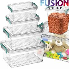 PLASTIC STORAGE BOX CLEAR BOXES WITH LIDS CLIP LOCKING FOOD HOME KITCHEN OFFICE