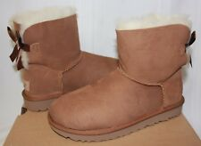 UGG Women's Mini Bailey Bow II 2 Chestnut Suede New With Box!