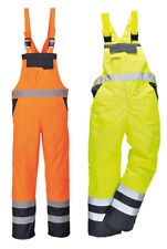 HI VIS   VISIBILITY DUNGAREE WATERPROOF BIB & BRACE  SAFETY FISHING OVERAL
