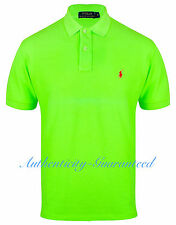 Ralph Lauren Mens Classic Fit Short Sleeve Polo Shirt Neon Lime S - XL RRP £75