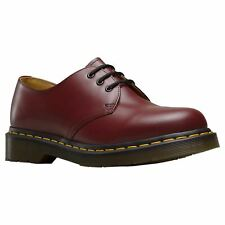 Dr.Martens 1461 3-Eyelet Cherry Red Womens Smooth Leather Lace-up Casual Shoes
