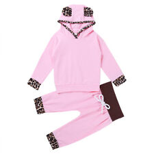 Infant Kids Baby Girl Clothes Set Hooded Leopard Tops T-shirt+Pants Outfits 2PCS