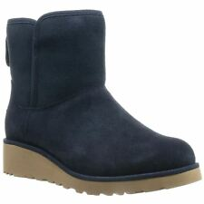 Ugg Australia Kristin Navy Womens Suede Mid Winter Wedge Ankle Boots