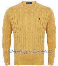 Ralph Lauren Men's Crew Neck Cable Knit Cotton Jumper Camel S - XXL RRP £119