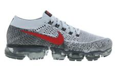 Nike Air VaporMax Flyknit Pure Platinum Grey Red Mens Trainers
