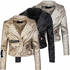 Donna Giacca in similpelle borchie Giacca STILE BIKER SIMILPELLE d-285 NUOVO