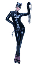 Top Totty Sexy Women Black Mask Double Zipper Long Sleeves Costume