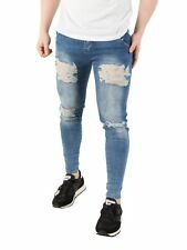 Sik Silk Men's Skinny Distressed Denim Jeans, Blue