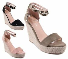 LADIES FAUX SUEDE HIGH WEDGE ESPADRILLES ANKLE STRAP PEEP TOE CUT OUT SANDALS