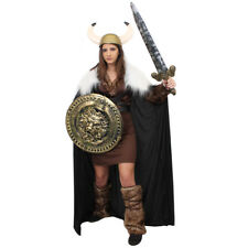 LADIES GOLD DELUXE VIKING COSTUME WARRIOR HISTORICAL MEDIEVAL FANCY DRESS OUTFIT