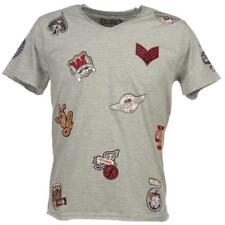 Tee shirt manches courtes Crossby Patch lt grey mel mc tee Gris 58422 - Neuf