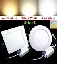 New 3-In-1 Warm Natural Cool White LED Round Square Recessed Ceiling Panel Light