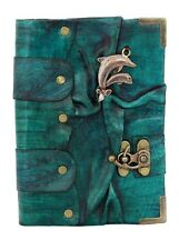 Handmade Genuine Leather Journal Diary Notebook Sketchbook Art Cover Dolphin