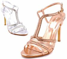 LADIES BRIDAL HIGH HEEL ROSE GOLD CUT OUT SLINGBACK BUCKLE SANDALS SHOES SIZES