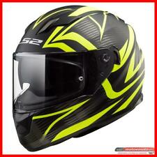Ls2 Casco Moto Scooter Integrale FF320 Jink Nero Giallo Fluo Matto