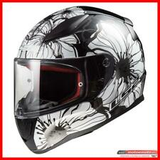 Ls2 Casco Moto Scooter Donna Integrale FF353 Rapid Poppies Bianco Nero Fiori