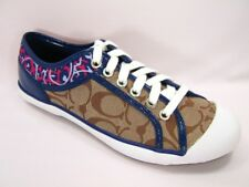 New NIB Coach Zorra Signature & Leather Khaki Navy Blue Ocelot Animal Sneakers