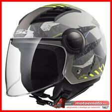 Casco estivo Ls2 Jet Airflow Camo Scooter Moto OF562 Nero Matto Giallo Fluo