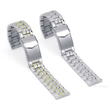 Premium 20mm Stainless Steel Centre Fold Safety Clasp Watch Strap Band Bracelet