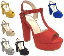 Womens Chunky Platform Peep Toe High Block Heel Buckle Strap Sandals Ladies Shoe