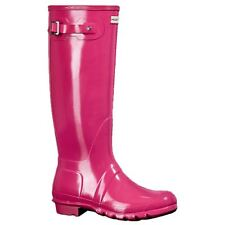 Hunter Original Tall Gloss Pink Womens Rubber Knee-High Wellies Rain Boots