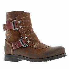 Fly London Seli 700 Brown Womens Leather Engineer Buckles Ankle Boots