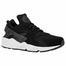 Nike Air Huarache Black Pure Platinum Mens Suede Mesh Lace-Up Sneakers Trainers