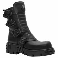 New Rock M.391X-S2 Reactor Black Men Leather Punk Gothic Alternative Biker Boots